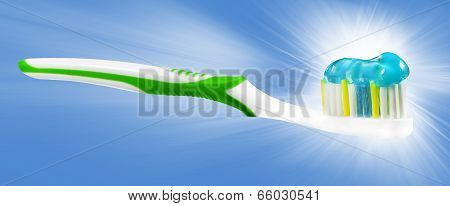 Tooth Brush With Tooth Paste On Blue Background.