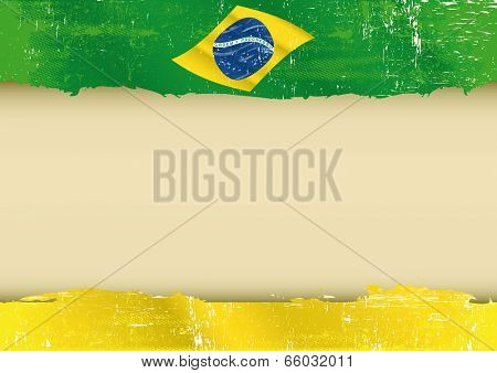 brazilian flag parchment. A brazilian flag with a large frame for your message. Ideal to use for a screen