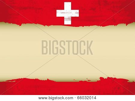 Swiss scratched flag. A swiss flag with a large frame for your message. Ideal to use for a screen