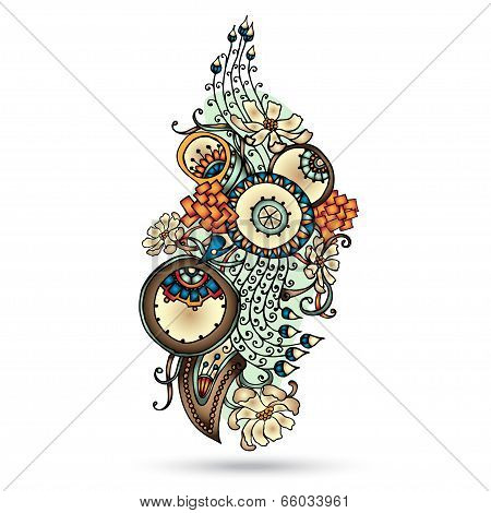 Henna Paisley Mehndi Abstract Vector Element.
