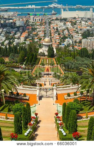 Bahai temple and gardens in Haifa Israel