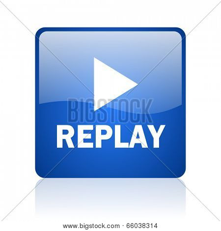 replay blue computer icon on white background