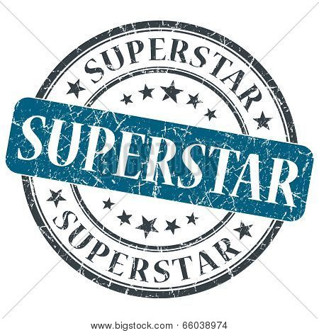 Superstar Blue Round Grungy Stamp Isolated On White Background