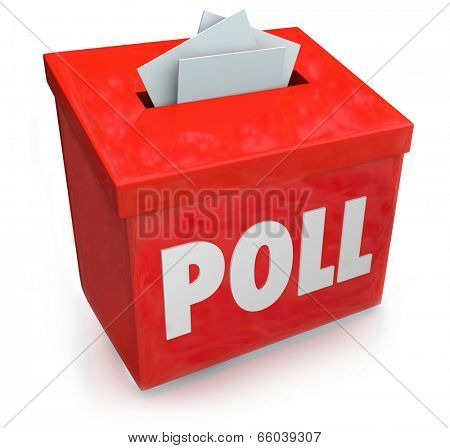 Poll word on a red collection box for votes, survey reponses or answers to questions