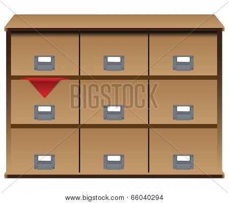 Drawer Organizer With Red Cloth