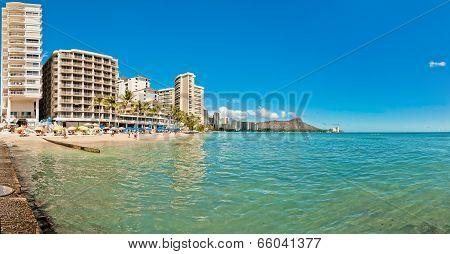 Waikiki shoreline in Honolulu, Hawaii