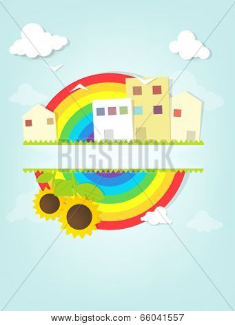 urban landscape with rainbow