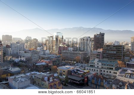 Aerial view of a city, Providencia, Santiago, Chile