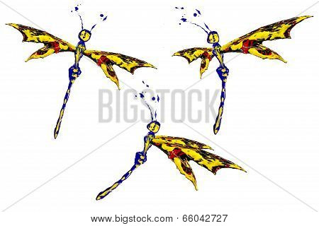 Yellow Black Red Paint Made Butterfly Set