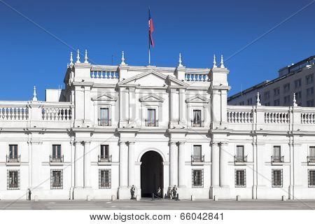 Facade of a parliament building, Palacio de la Moneda, Santiago, Chile