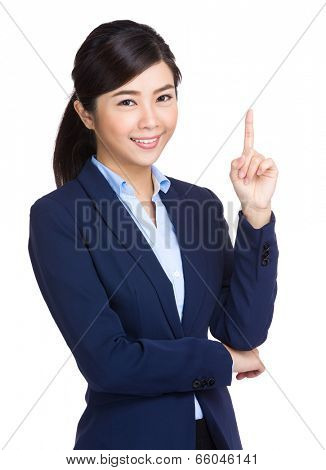 Businesswoman finger point up