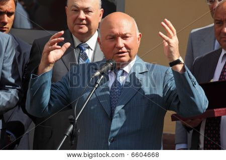 Moscow, russia - July 28, 2009:  Public Speech Of Mayor Luzhkov On Termination Of Building Of New Ap