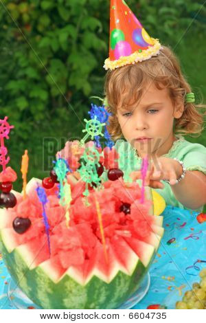 Little Girl In Cap Eats Fruit In Garden, Happy Birthday