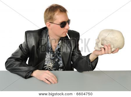 Man With A Cigarette And A Skull