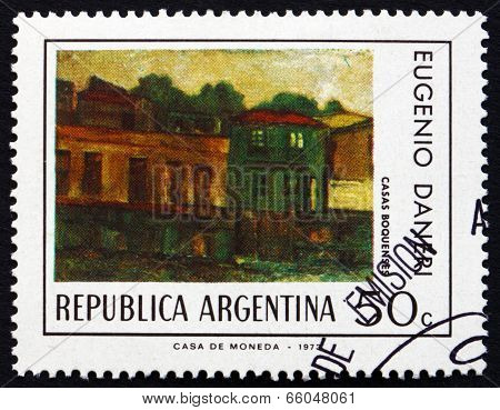 Postage Stamp Argentina 1974 Houses In Boca District, By Eugenio Daneri