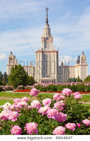 The Moscow State University Of A Name Of Lomonosov. Vertical Format