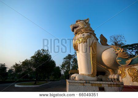 Lion Guardian Statuec In Shwegagon Pagoda.