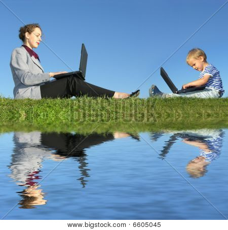 Businesswoman And Child Sit With Notebooks On Blue Sky, Reflection, Collage