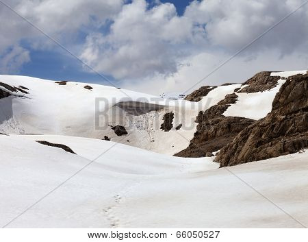Snowy Mountains With Cornice