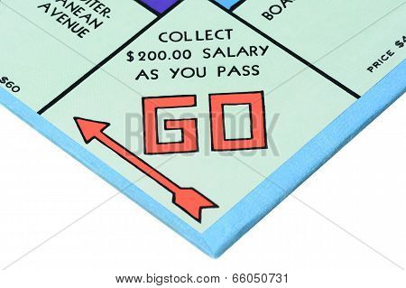 Closeup Monopoly Board Game Go Corner