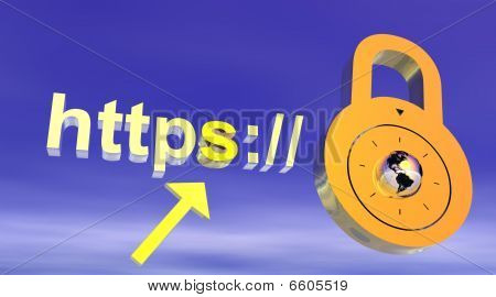 Internet secure addresss with padlock