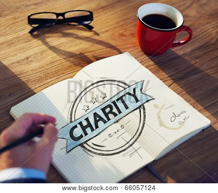Businessman's table with Charity Concept