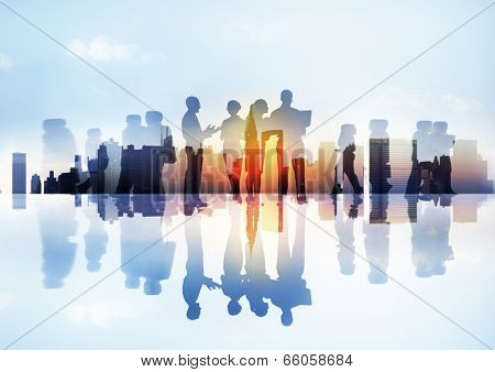Silhouettes of Business People's Different Activities Outdoors