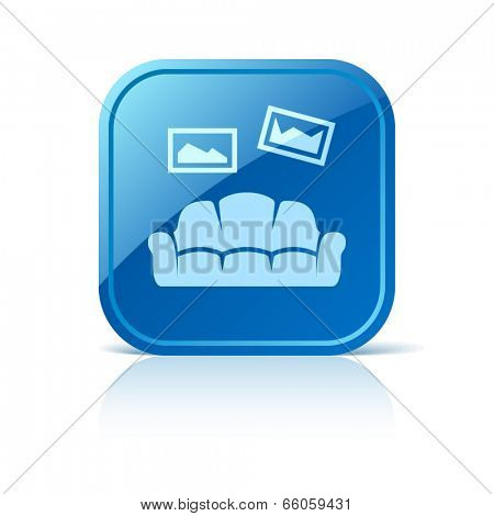 Sofa icon on blue web button