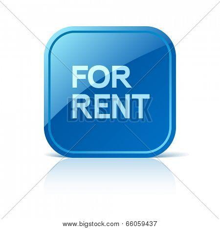 For rent. Blue square web button