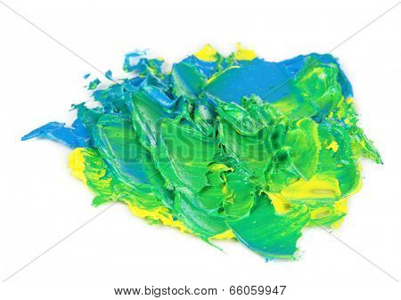 Oily paint brushstrokes isolated on white