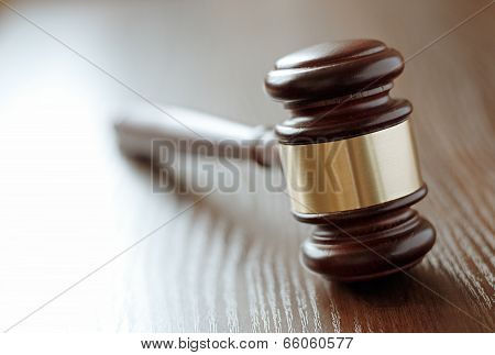Wooden Gavel With A Brass Band
