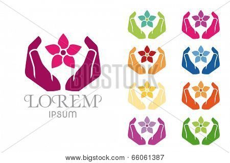 Massage Spa Symbol Design Template. Hands around Jasmin Flower Massage and Spa Vector Illustration