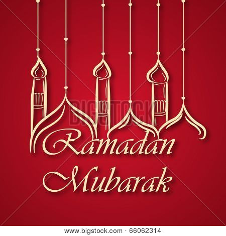 Creative mosque design hanging by threads and stylish text Ramadan Mubarak on red background.
