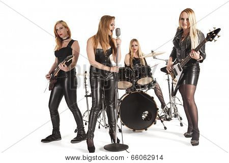 Portrait of female music band isolated over white background