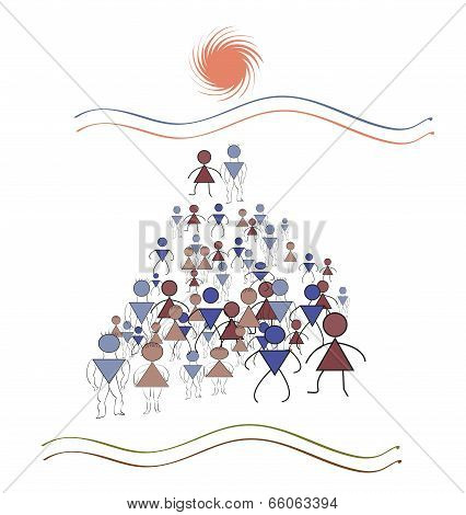 Pyramidal Geometry, A Lot Of People March In The Direction Of The Sun