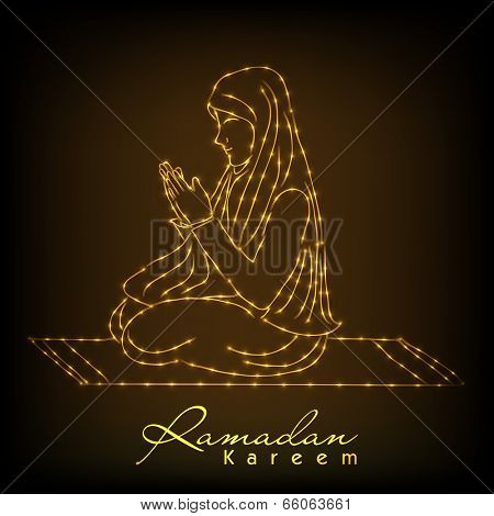 Golden lines illustration of young muslim girl praying on shiny brown background for holy month of muslim community Ramadan Kareem.