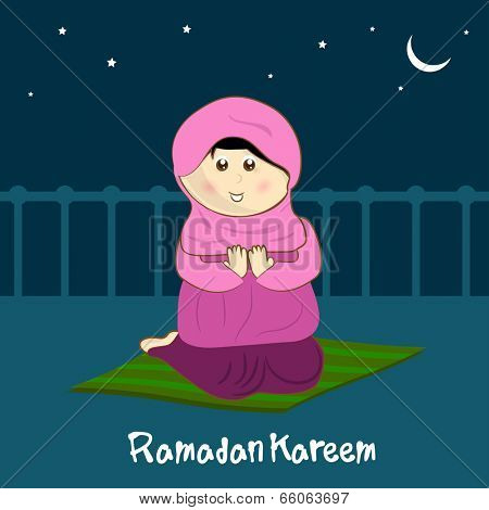 Illustration of a religious Muslim girl praying in night background for holy month of muslim community Ramadan Kareem. .