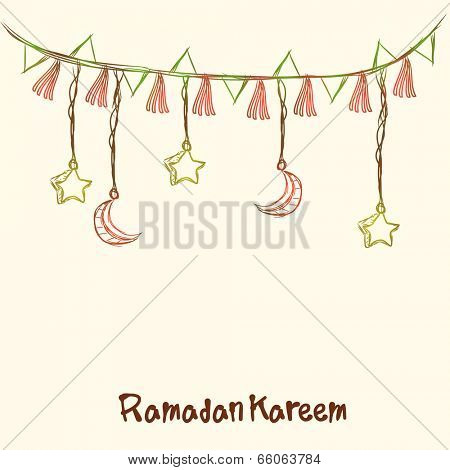 Beautiful greeting card design with hanging moon and stars by a decorative ribbon on abstract background.