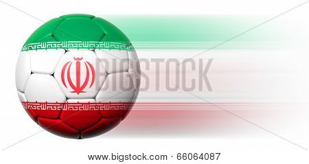 Soccer ball with Iranian flag in motion isolated