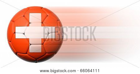 Soccer ball with Swiss flag in motion isolated