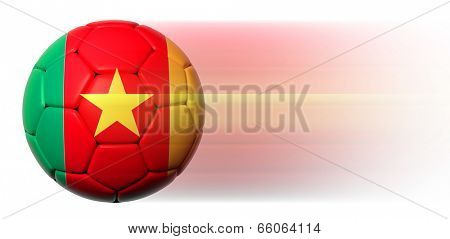 Soccer ball with Cameroon flag in motion isolated