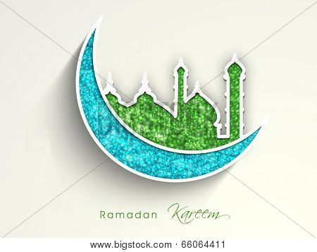 Beautiful sticky with green mosque and blue moon on grey background for holy month of muslim community Ramadan Kareem.