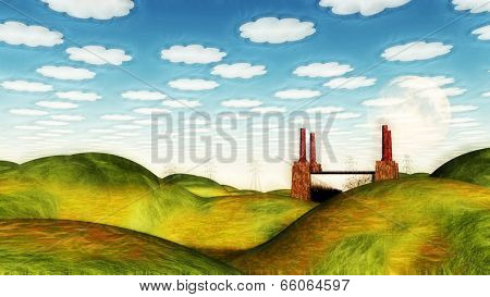 Bucolic Landscape with Factory