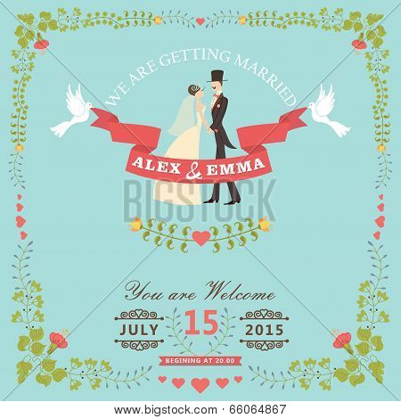 Wedding Invitation With Bride,groom,floral Frame