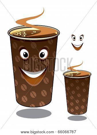 Two cartoon takeaway coffees