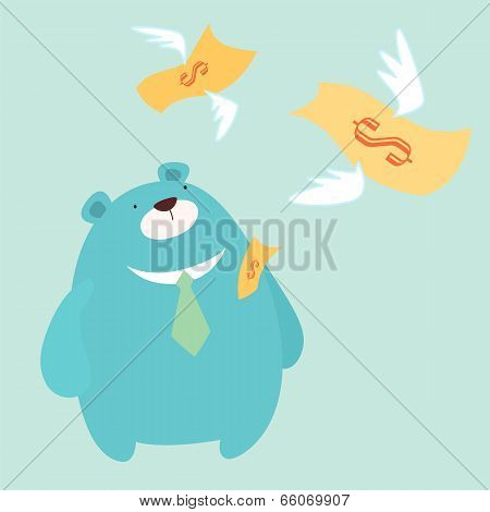 money fly away from Mr.Bear