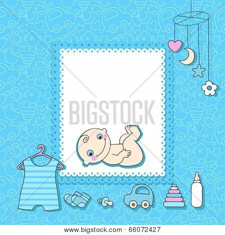Sweet baby boy announcement card style cartoon.
