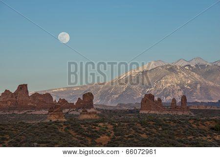 Moon Rising Over La Sal Mountain Moab Utah