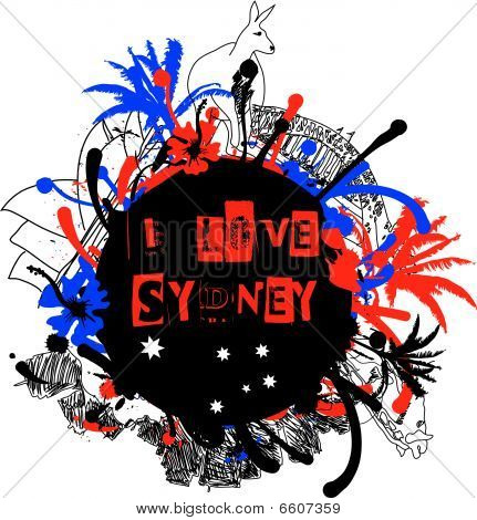 Grungy Sydney And Australia Design Element