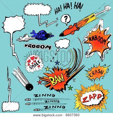 Variedad de elementos de diseño de cómics
